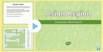 Asian Region Interactive Word Search  - ACHASSK138, Year 6, AC, Geography, vocabulary, word recognition, metalanguage, spelling,Australia
