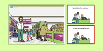 Karty z pytaniami Supermarket po polsku - zakupy, sklep