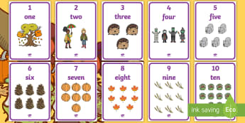 Autumn Themed 1 to 10 Word and Number Display Posters - Autumn Themed 1 to 10 Word and Number Display Posters -  autumn, numeracy, counting, number poster,