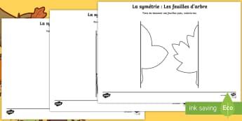 Feuilles d'activité de symétrie : Les feuilles d'arbres - Saisons, temps, formes, dessin, géométrie