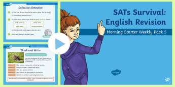 SATs Survival: Year 6 English Revision Morning Starter Weekly PowerPoint Pack 5 - SATs Survival Materials Year 6, SATs, assessment, 2017, English, SPaG, GPS, grammar, punctuation, sp