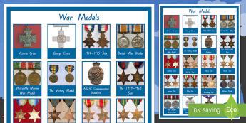 War Medals Display Poster - New Zealand, Anzac Day, 25 April, ANZAC, Poppies, World War 1, World War 2, Gallipoli, medals, displ
