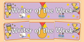 Writer of the Week Banner - writer of the week, writer of the week display banner, writer of th week display header, writing, good writing, writing award