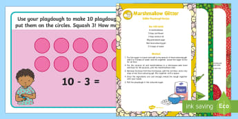Subtraction Playdough Recipe and Mat Pack - playdough, malleable, messy play, recipes, pink playdough, marshmallow playdough, green playdough