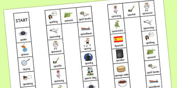 Two Syllable SP Board Game - sp, syllable, sen, sound, board game