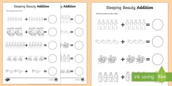 Sleeping Beauty Up to 20 Addition Sheets - sleeping beauty, 0-20 addition, addition, addition worksheet, counting and addition, counting, numeracy, adding
