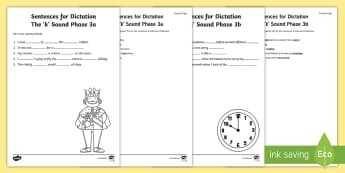 Northern Ireland Linguistic Phonics Stage 5 and 6, Phase 3a and 3b, 'k' Dictation Sentences Activity - Linguistic Phonics, Stage 5, Stage 6, Phase 3a, Phase 3b, Northern Ireland, sentences, dictation, wo