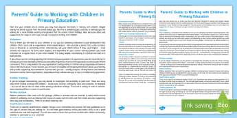 Guide to Working with Children Parent and Carer Information Sheet - parents, advice, schools, teaching, teaching assistant, work