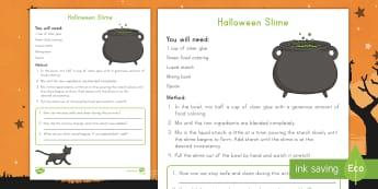 Halloween Slime Science Activity - Holidays, October, Fall, Halloween Activities, investigate, sensory,