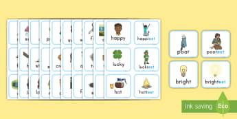 Suffix est Matching Cards -  suffix, suffix matching cards, prefixes and suffixes, suffix est, game, suffix activity,
