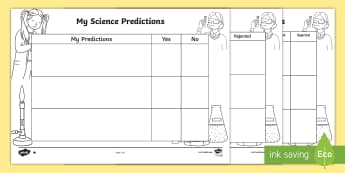 Science Predictions Differentiated Activity Sheets - worksheets, ACSIS024, science sheet, science recording, Science Inquiry Skills, posing questions,Aus
