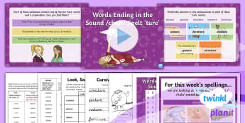 PlanIt Spelling Year 3 Term 3B W3: Words Ending with a /chuh/ Sound Spelt with ture Spelling Pack - Spellings, Year 3, Term 3B, W3, sound, chuh, ture, spelling pattern