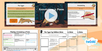 PlanIt Y6 Animals: The Tyger Lesson Pack - Animals: The Tyger, tyger, tiger, tigers, poetry, poem, william blake, Year 6, y6, ks2, junior, plan