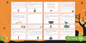 Halloween Fractions Maths Challenge Cards US English/Spanish (Latin) - Priority Fractions, fractions, year 5, Y5,  fractions of amounts, challenge, maths, numeracy, number