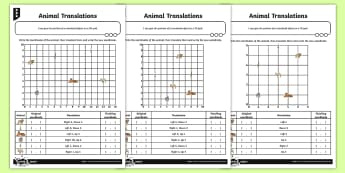 Coordinates and Translation Differentiated Activity Sheets - Position and Direction, coordinates, translation, translations