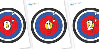 Numbers 0-50 on Archery Targets - 0-50, foundation stage numeracy, Number recognition, Number flashcards, counting, number frieze, Display numbers, number posters
