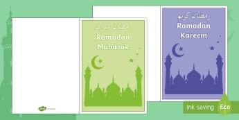 Ramadan Kareem Cards Arabic/English - festival, celebration, islam, muslim, ks1, ks2, key stage, early years, religion, holy, day, sharing