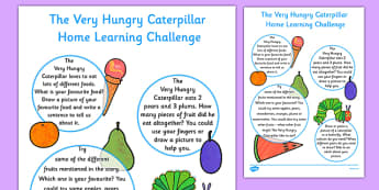 Home Learning Challenge Sheet to Support Teaching on The Very Hungry Caterpillar Nursery FS1  - EYFS, homework, Early years, insects, minibeasts, Eric Carle