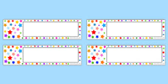 Multicoloured Stars Editable Gratnell Tray Labels - star, labels