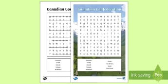 Canadian Confederation Word Search - Canada\'s 150th Birthday, history, social studies, confederation, dominion day, grade 1, grade 2,