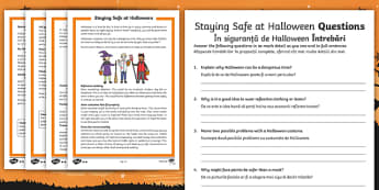 Staying Safe at Halloween Reading Comprehension Activity English/Romanian - EAL ,differentiated, safety, Halloween, festival, autumn, celebration, safe, responsibility, reading