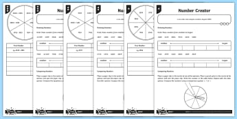 PlanIt Y4 Number and Place Value Number Creator Home Learning Tasks  - comparing numbers, greater than, less than, comparison symbols, greater than 1000