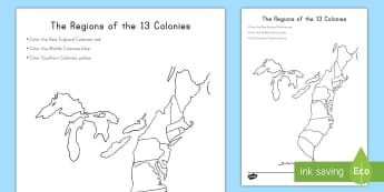 Colonial America Map Activity Sheet - USA 3-5 Social Studies (History): Colonial America, New England Colonies, Worksheet, Middle Colonies