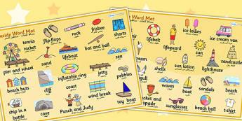 بساط كلمات عن شاطئ البحر إنجليزي عربي