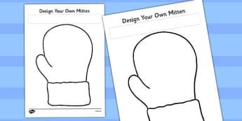 Design Your Own Mitten Worksheet - mitten, worksheet, design