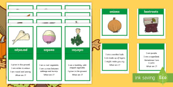 Harvest Theme Can You Guess? Cards - ROI Harvest, vegetables, what am i, ,Irish, harvesting, veg