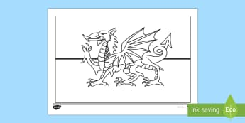 Welsh Flag Colouring Page - flag, colouring, welsh, st. david