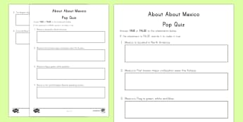 All About Mexico Pop Quiz Go Respond Activity Sheet - Mexico, North America, Go Respond, Assessment, History, Social Studies, Geography, KS2