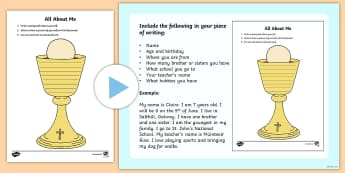All about me on a Chalice Activity Sheet - Confession & First Communion Resources,Irish,worksheet