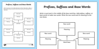 Word Study Graphic Organiser Worksheet - prefixes suffixes and base words, words worksheet, word study worksheet, word parts worksheet, prefixes and suffixes