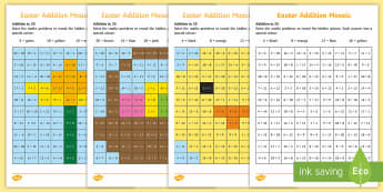 Easter Themed Addition Mosaic Activity Sheets - KS1 & 2 Easter 2017 (16th April), maths, addition, numbers to 20, worksheets