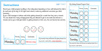 Getting Dressed Behaviour Progress Chart - getting dressed behaviour progress chart, getting dressed, dressing, behaviour, progress, charts, chart, award, well done, reward, medal, rewards, school, general, achievement