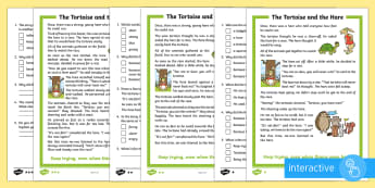 The Tortoise and the Hare Differentiated Comprehension Go Respond  Activity Sheets - KS1 Comprehensions, aesop's fable, moral, fable, KS1, key stage 1, key stage 1, year 1, year one, y