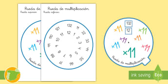 Rueda de multiplicación: ×11 - tabla de multiplicar, múltiplos, ficha, mates, matemáticas, x11, por once, multiplicar, multiplica