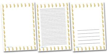 Seahorse Portrait Page Borders- Portrait Page Borders - Page border, border, writing template, writing aid, writing frame, a4 border, template, templates, landscape