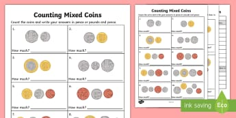 Counting Mixed Coins Activity Sheet - UK, currency, money,counting, worksheet, UK, pound, pence, coin