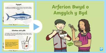 Pwerpwynt Arferion Bwyd o Amgylch y Byd - pitsa, pizza, spaghetti, sbageti, nwdyls, pysgodyn, fish, noodles,Welsh-translation