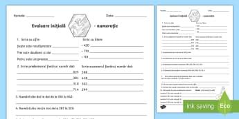 Evaluare inițială - Numerația Fișă - evaluare inițială, numerația, numere, 0-1000, fișă de lucru, ordonare, numere,Romanian