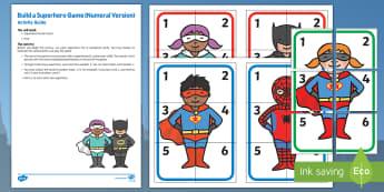Build a Superhero Game Numeral Version Busy Bag Resource Pack for Parents - Superheroes, superhero, dice, number, superman, batman, spiderman, dice, count, hero