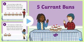5 Currant Buns Nursery Rhyme PowerPoint - powerpoint, nursery