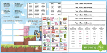 Year 5 Block Adventurer Themed Spelling Menu Pack - spag, gps, home learning, weekly, lists, test,
