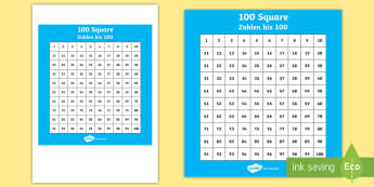 100 Square (Hundred Square) Display Poster English/German  - numbers, counting, number, EAL, German, English-German,,German-translation