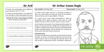 Scottish Significant Individuals Sir Arthur Conan Doyle Text Detective Activity Sheets- - CfE Scottish Significant Individuals, main ideas, Sir Arthur Conan Doyle, Sherlock Holmes, Scottish
