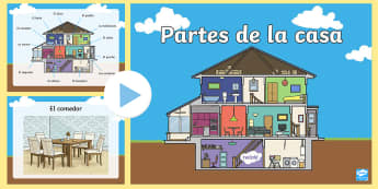 Parts Of A House PowerPoint - Spanish KS2, house, home, parts of a house, powerpoint, MFL, languages, Spanish, language