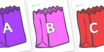 A-Z Alphabet on Bags - A-Z, A4, display, Alphabet frieze, Display letters, Letter posters, A-Z letters, Alphabet flashcards