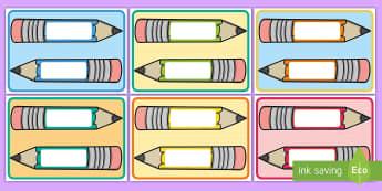 Stifte Namesschilder zum Selbstgestalten - DE Klassenorganisation (Classroom Organisation), Schulanfang, Name, Namensschild, Stift, Kl.1/2, bac